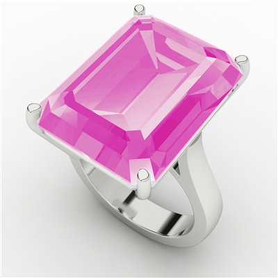 Emerald Cut Ring_Pink Sapphire (Hydrothermal) $292.95