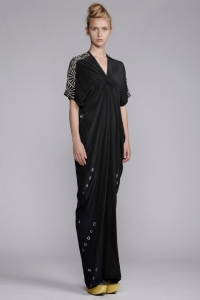Akira V Neck Spiral Shibori Long Dress